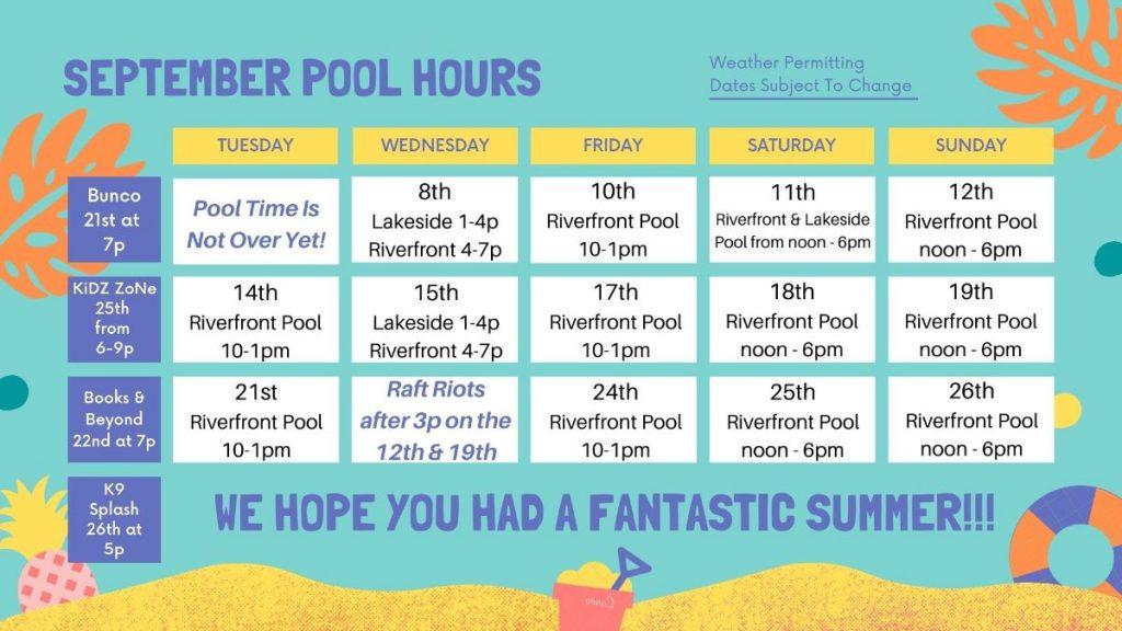 September 2021 Pool Hours